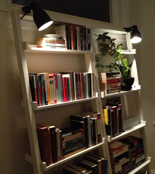 Lighted Leaning Bookshelves