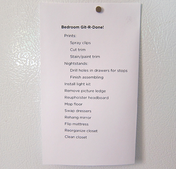 Bedroom To-Do List