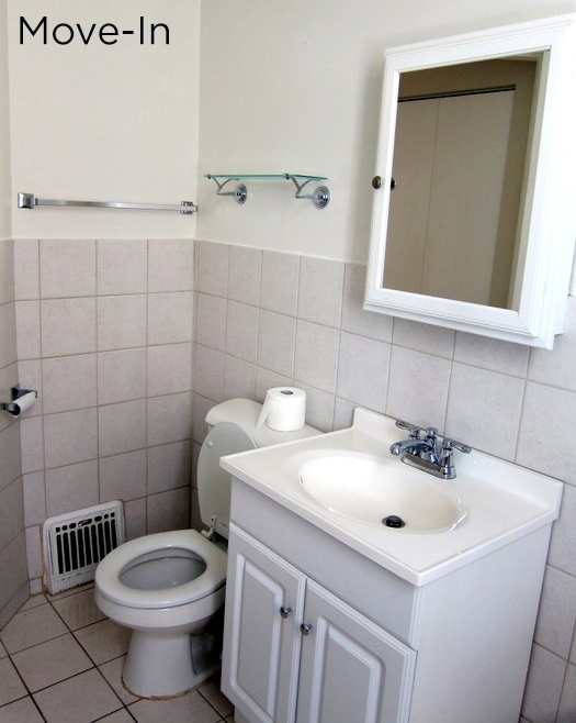Rental bathroom makeover before during after project for Bathroom ideas rental