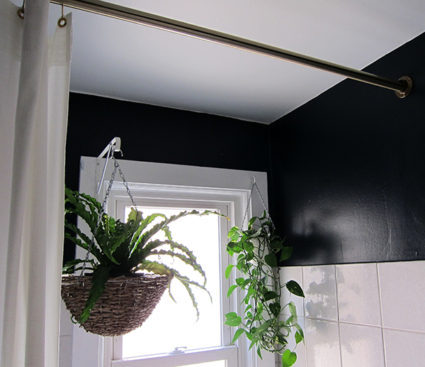 Brass Shower Curtain Rod and Hanging Plants | Project Palermo