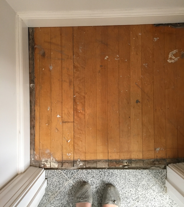 Bathroom Closet Floor Before 2