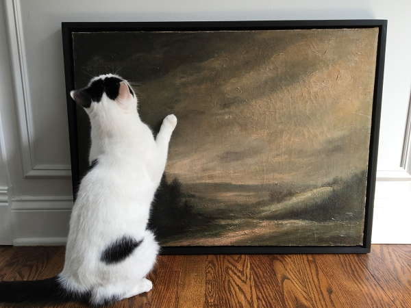 Cat Inspecting Oil Painting.JPG