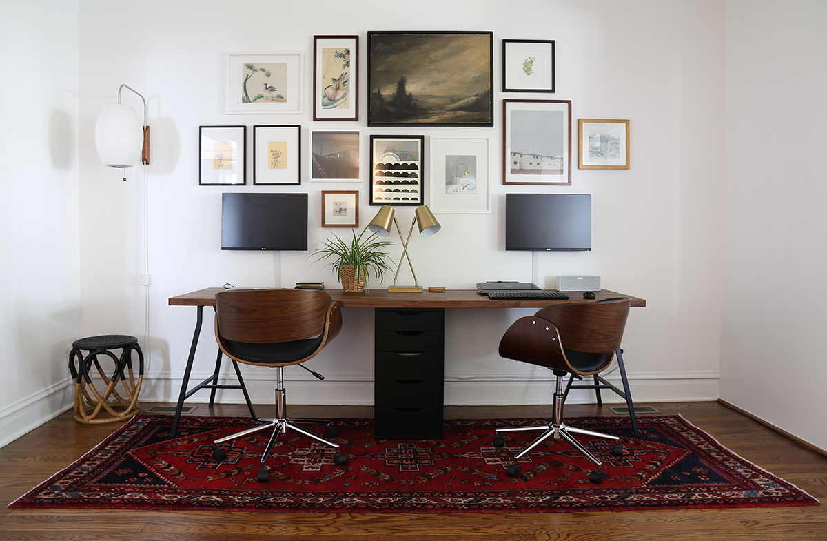 two person desk and gallery wall project palermo. Black Bedroom Furniture Sets. Home Design Ideas
