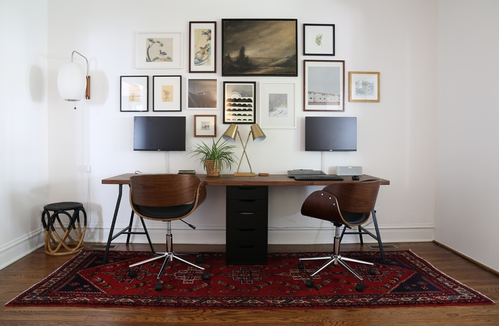 Two-Person Desk and Gallery Wall