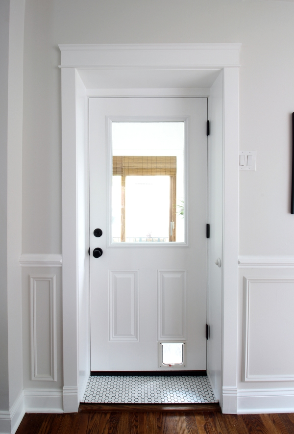 Glass Door with Ceramic Tile Transom