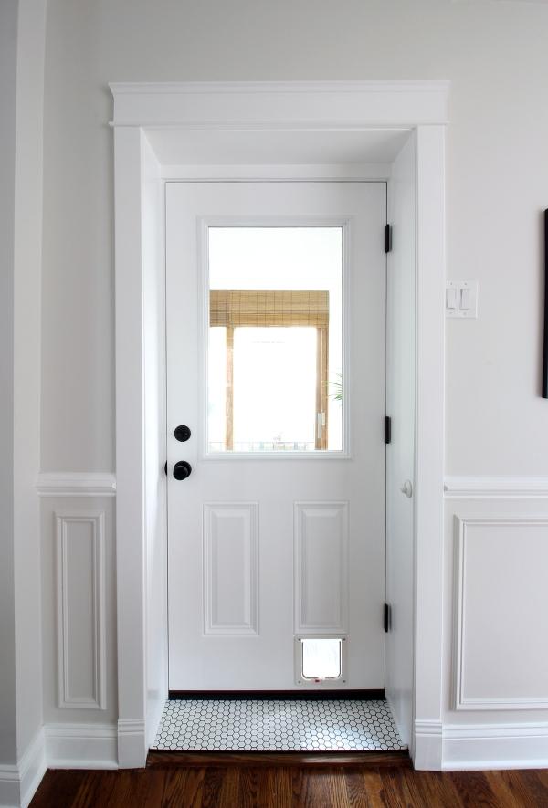 Glass Door with Ceramic Tile Transom