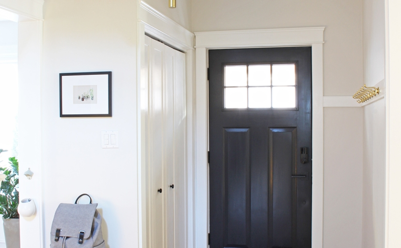 Bungalow Entryway with DIY Hook Rail