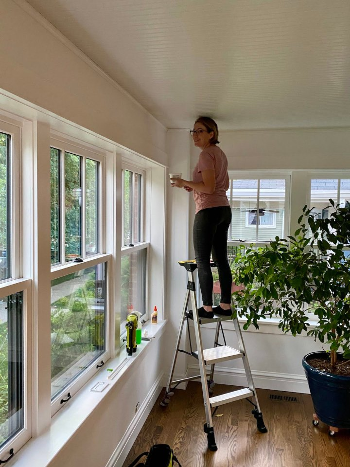 DIY Moulding and Painting in the Sunroom